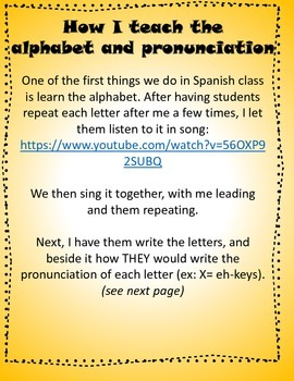 La pronunciación y el alfabeto- how I teach pronunciation
