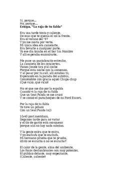 La raja de tu falda- lyrics and activity