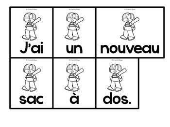 La rentrée scolaire - Phrases mêlées - French Back to school