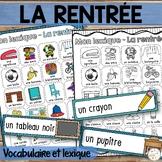 La rentrée scolaire - Mur de mots (49 mots) et lexique - French back to school