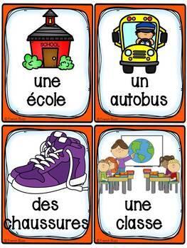 La rentrée scolaire - 49 cartes de vocabulaire - French Back to School