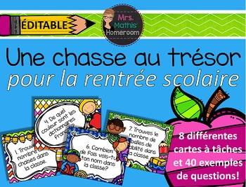 La rentrée - Chasse aux trésors éditable (Back to School Treasure Hunt French)