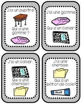 """La Rentrée Scolaire - Jeu """"J'ai...Qui a...?"""" - French Back to School"""