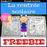 La rentrée scolaire - Vocabulaire, Grammaire (French, Back To School FREE)