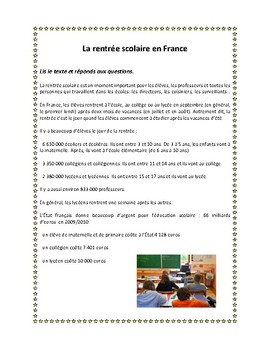 La rentrée scolaire en France, reading in French for French 1 and 2 students