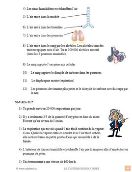 La respiration, sciences, French Immersion (#55)