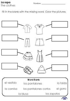 La ropa 1st grade