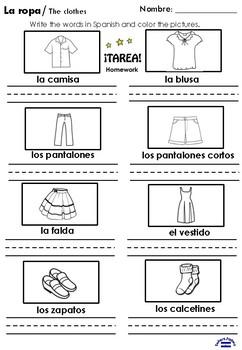 La ropa 2nd grade