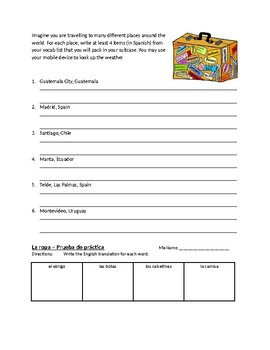 La ropa (Clothing) activities and assessment in Spanish