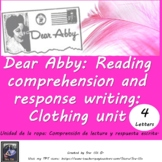 La Ropa Spanish Clothing Reading Comprehension and Writing