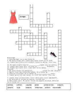 La ropa Spanish Clothing Activity, Vocabulary List, Resource Pack, Quiz