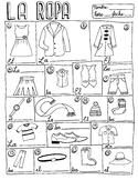 La ropa Spanish clothing vocabulary chart poster no prep p