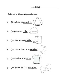 La ropa actividades- Clothing activity Spanish