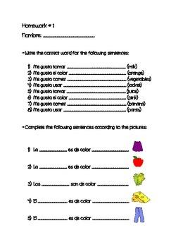 La ropa, comida & colores worksheet - Clothes, food and colors review
