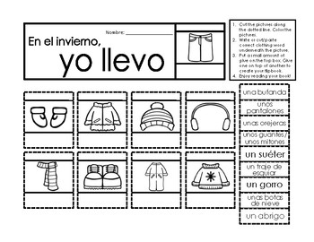 La ropa de invierno - Spanish flipbook activity