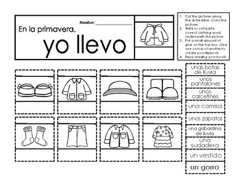 La ropa de primavera - Spanish flipbook activity