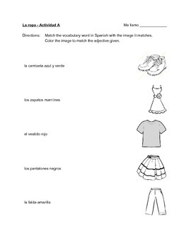 La ropa - matching & coloring activity