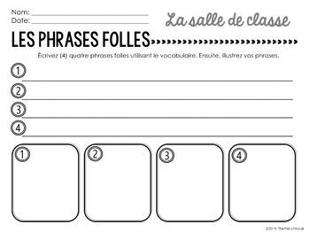 La salle de classe French classroom vocabulary Les phrases folles
