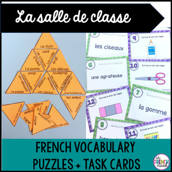 La salle de classe French classroom vocabulary puzzle and task cards