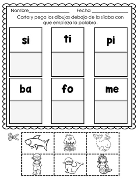 La sílaba inicial  Páginas de práctica.