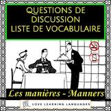 Advanced French conversation questions - Les manières