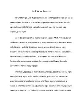 La tortuga amarilla: Nouns, adjectives, articles