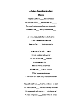 La tortura- Song by Shakira with fill in the blank lyrics