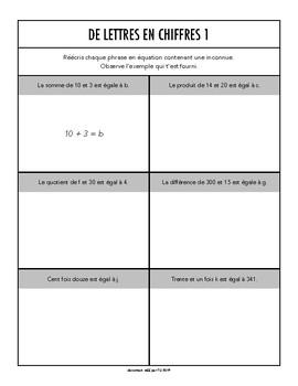 Algèbre - Document de travail