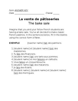 """La vente de pâtisseries: practicing the verb """"faire"""""""