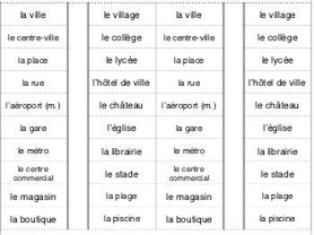 La ville: interactive notebook/cahier interactif French vocabulary CITY PLACES