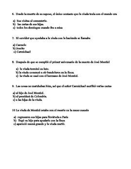 La viuda de Montiel Quiz in Spanish