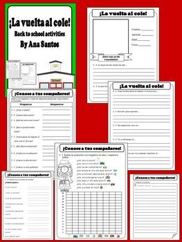 La vuelta al cole - Back to school activities in Spanish