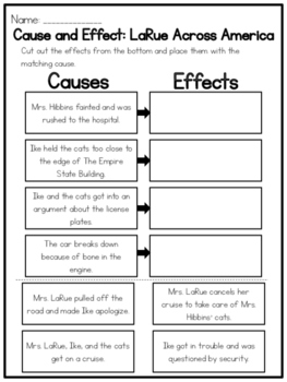 LaRue Across America Cause and Effect Worksheet