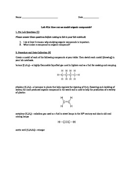 Lab #15: Organic Compound Modeling