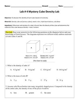 Lab #4 Mystery Cube Density Lab