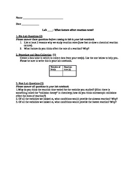 Lab #6: Factors Affecting Reaction Rates