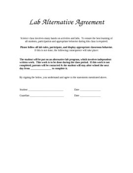 Lab Alternative Agreement Form