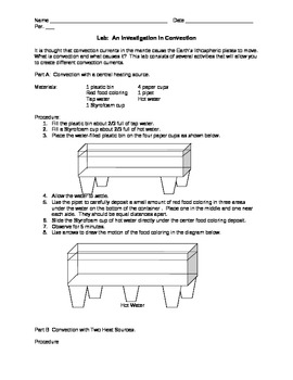 Lab:  An Investigation in Convection