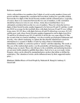 Psychology Lab Anchoring Heuristics 1 Kahneman & Tversky