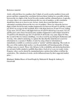 Psychology  Lab Anchoring Heuristics 2 Kahneman & Tversky