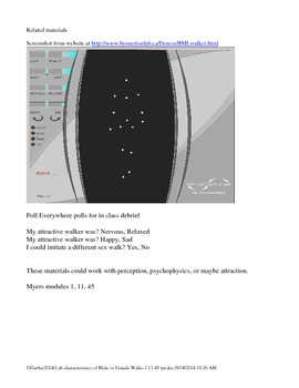 Psychology Lab Characteristics of Male and Female Walks biomotion perception