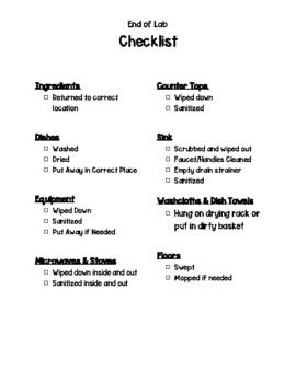 Lab Clean-Up Checklist