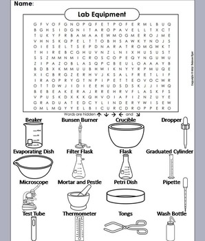 Lab Equipment Word Search/ Coloring Book