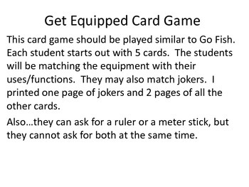 Lab Equipment Card Game-Get Equipped!