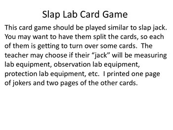 Lab Equipment Card Game-Slap Lab!
