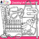 Chemistry Clip Art Lab Equipment | Measurement & Safety Tools for Science B&W