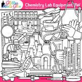 Chemistry Clip Art: Science Lab Equipment Graphics B&W {Gl