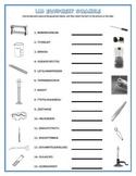 Lab Equipment Crossword and Word Scramble Matching