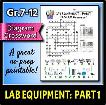 Lab Equipment Crossword with Diagram - Part 1 - FREE! {Editable}