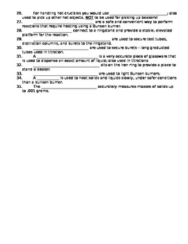 Lab Equipment Notes or Handout with Answer Key